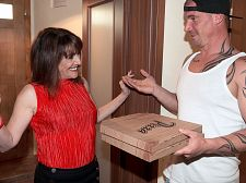 Forget the pizza. This SEXY HOUSEWIFE is hungry for rod.